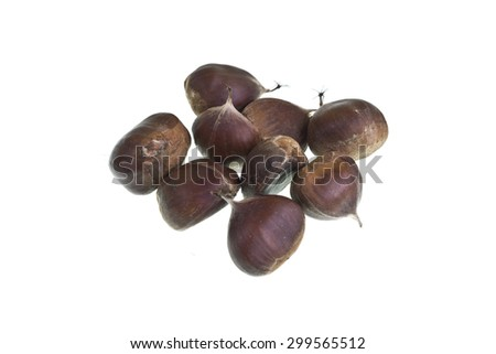 Delicious fresh chestnuts isolated on white background - stock photo