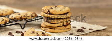 Delicious Fresh Chocolate Chip Cookies. Selective focus. Panoramic image. - stock photo