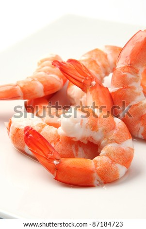 delicious fresh cooked shrimp prepared to eat - stock photo