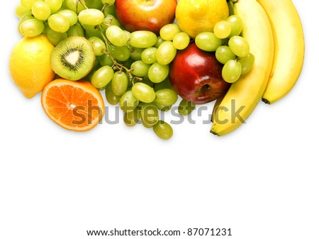 delicious fresh fruit mix isolated