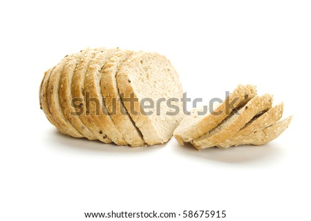 Delicious, fresh, home-made whole wheat bread. Sliced. Isolated - stock photo