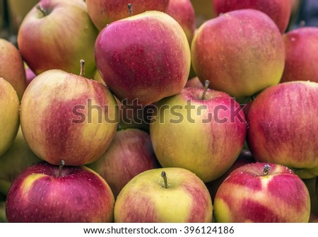 Delicious fresh juicy apples in local fruit market - stock photo