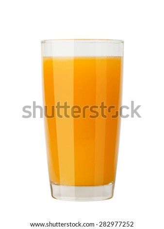 delicious fresh natural orange juice in a glass isolated on a white background. with clipping path.