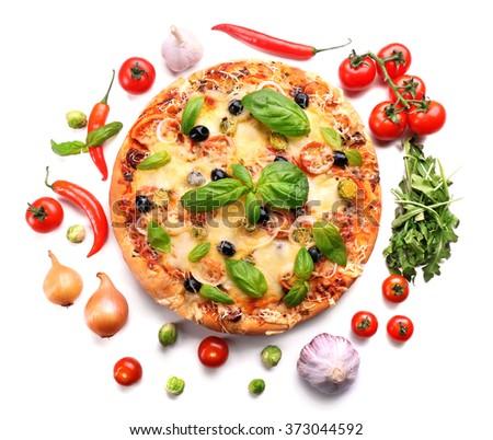 Delicious fresh pizza isolated on white - stock photo