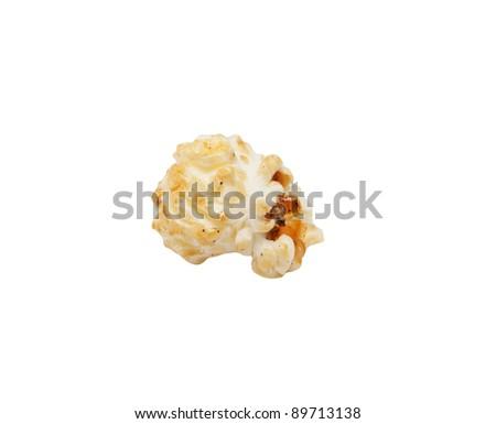 delicious fresh popcorn on white - stock photo