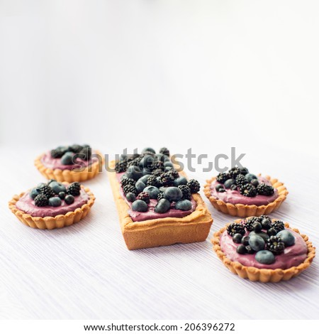 Delicious fruit tart made with blackberries and blueberries. Picture with copy space and shallow DOF. - stock photo