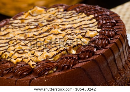 Delicious German Chocolate Fudge Cake with Coconut Topping on a White Plate - stock photo