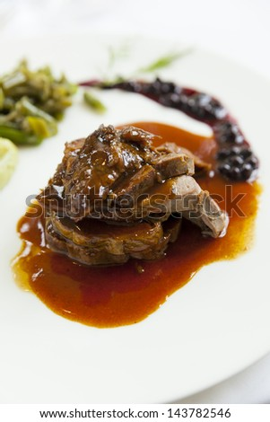 delicious gourmet deer course with sauce - stock photo