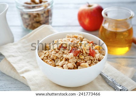 Delicious granola in a bowl, food - stock photo