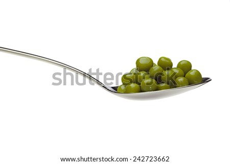 Delicious, green, canned peas in a silver spoon on a white background. - stock photo