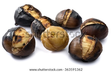 Delicious grilled chestnuts isolated on white background. - stock photo