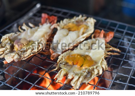 Delicious Grilled fresh big shrimp,Famous menu in Thailand