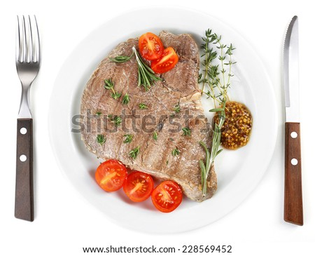 Delicious grilled meat isolated on white - stock photo
