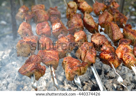 delicious grilled meat on fire - stock photo