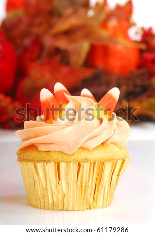 Delicious Halloween cupcake with butter cream frosting and fall foliage in the background - stock photo