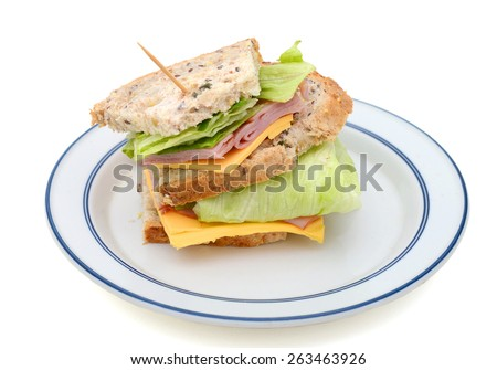 delicious ham sandwich on plate on white background  - stock photo