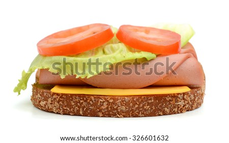 delicious ham sandwich on white background  - stock photo