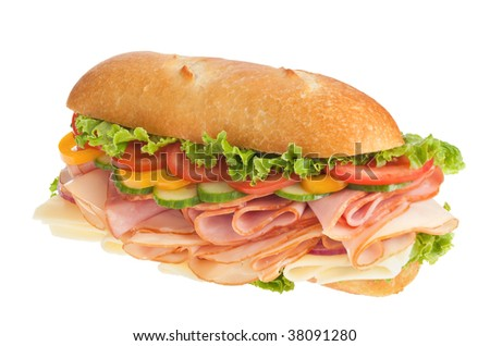 Delicious ham, turkey & cheese sandwich on white background - stock photo