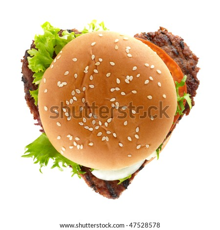 delicious hamburger in shape of a heart