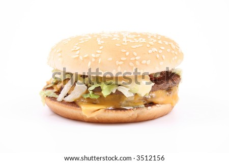 delicious hamburger isolated on white - unhealthy eating
