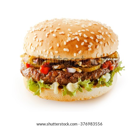 Delicious hamburger on a sesame bun with pickles, mayonnaise and salad trimmings over a white background with clipping path