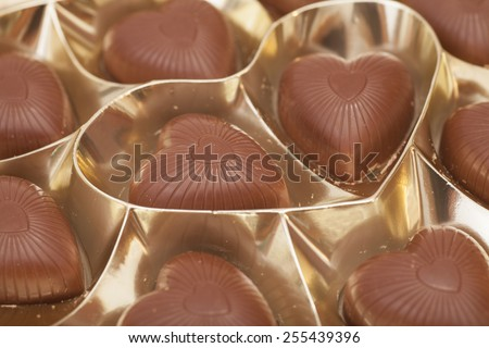 Delicious heart-shaped chocolate candies  - stock photo
