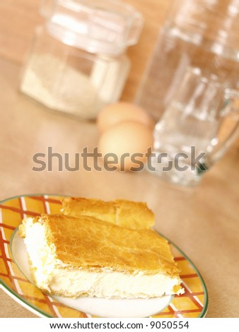 Delicious homemade cake  with cream