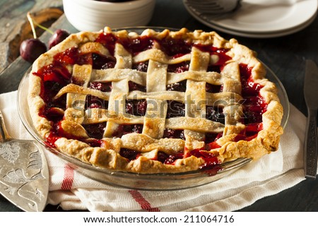Delicious Homemade Cherry Pie with a Flaky Crust - stock photo