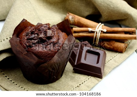 delicious homemade chocolate muffins-baked product - stock photo