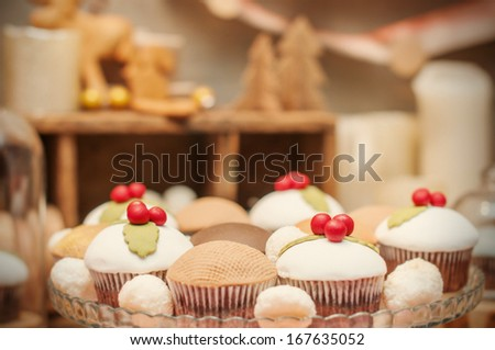 delicious homemade christmas sweets on the plate - stock photo