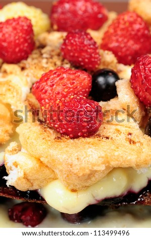 Delicious Homemade Custard Cake with Strawberries