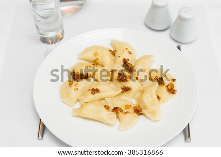 Delicious homemade dumplings with fried onion arranged on white plate - stock photo