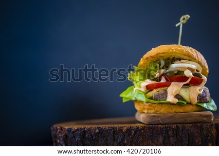 Delicious homemade hamburger with fresh vegetables - stock photo