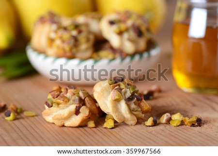 delicious homemade honey biscuits with lemon and pistachio