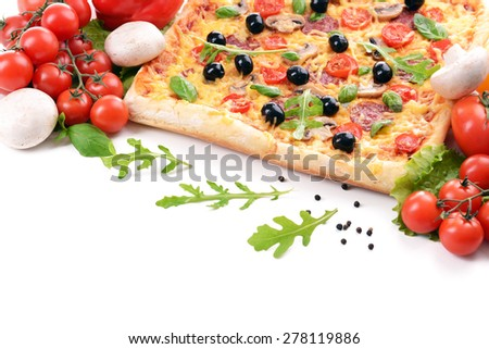 Delicious homemade pizza on white background - stock photo