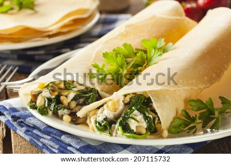 Delicious Homemade Savory French Crepes with Spinach and Feta
