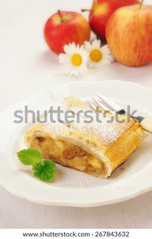 Delicious homemade Viennese apple strudel - stock photo