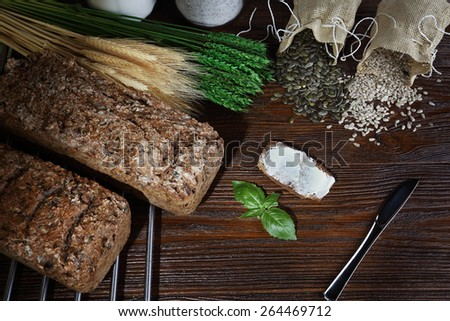 delicious homemade whole grain bread - stock photo
