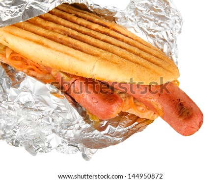 Delicious hot dog isolated on white
