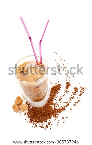 Delicious ice coffee with instant coffee and brown sugar on white background. Traditional coffee drinking. - stock photo