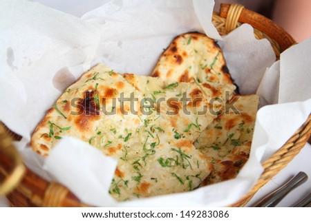 Delicious Indian Naan Bread - stock photo
