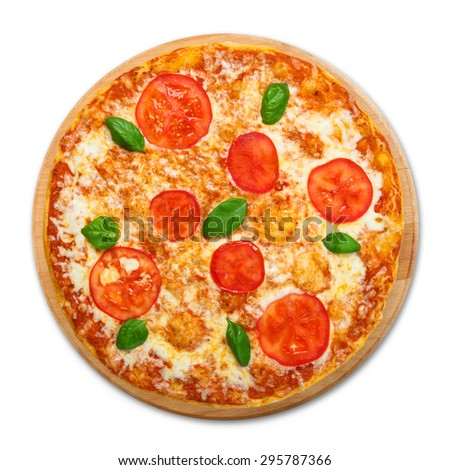 Delicious italian Margherita pizza with tomatoes and mozarella - thin pastry crust at white background, above view on wooden desk - stock photo