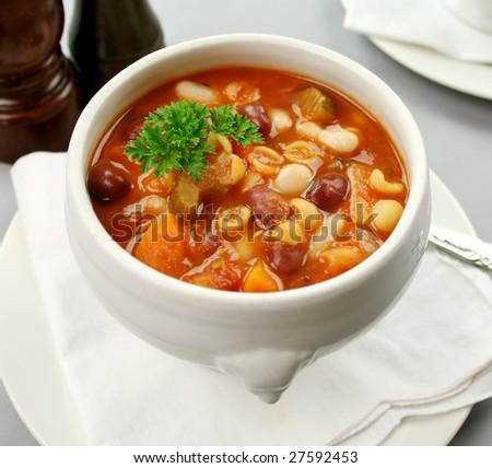 Delicious Italian minestrone soup ready to serve. - stock photo