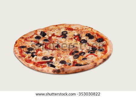 Delicious italian pizza with chicken, mozzarella cheese, olives, tomatoes, green pepper isolated on white background