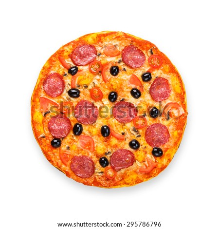 Delicious italian pizza with salami pepperoni, mushrooms and black olives - thin pastry crust isolated at white background, above view