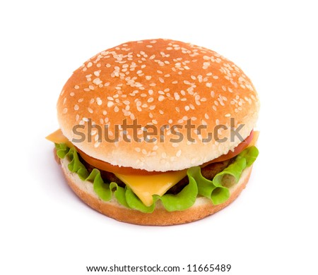 Delicious juicy cheeseburger with tomato on white background - stock photo