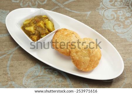 Delicious Kachori with Masala Potato - Indian Food - stock photo