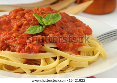 Delicious linguine pasta with tomato basil sauce.