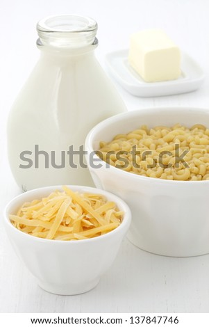 Delicious macaroni and cheese ingredients. - stock photo