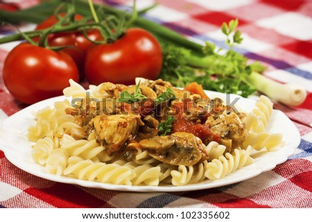 Delicious macaroni with tomato sauce - stock photo